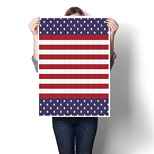 Wall Art Painting American Flag with Stars Stripes USA State Royalty Emblem Natial Country On Canvas Modern Decoration Print Decor for Living Room,24