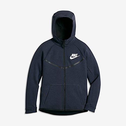Nike Boy's Sportswear Tech Fleece Windrunner Hoodie Obsidian Heather/Black/White Small
