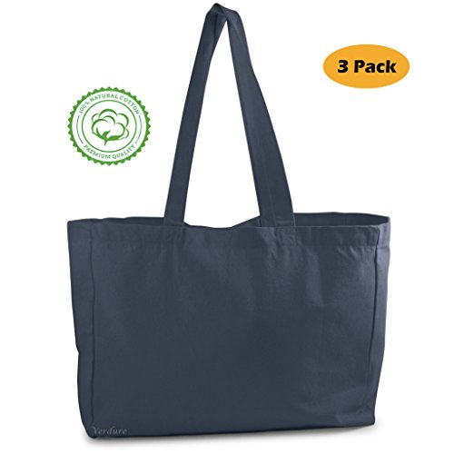 Cotton Canvas Tote Bag (3 Pack, Black Color) perfect for beach, grocery shopping, craft projects - extra thick, large, durable,100% cotton