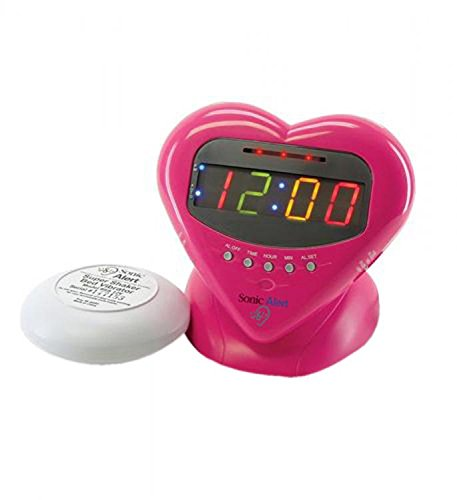 Sonic Alert SBH400ss Sweetheart Alarm Clock with Bed Shaker by Sonic Alert