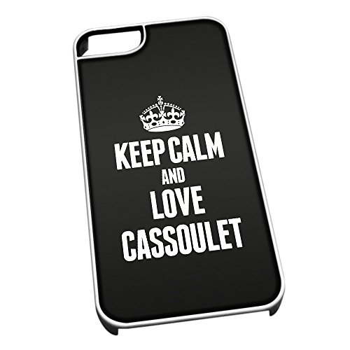 Bianco cover per iPhone 5/5S 0920 nero Keep Calm and Love cassoulet