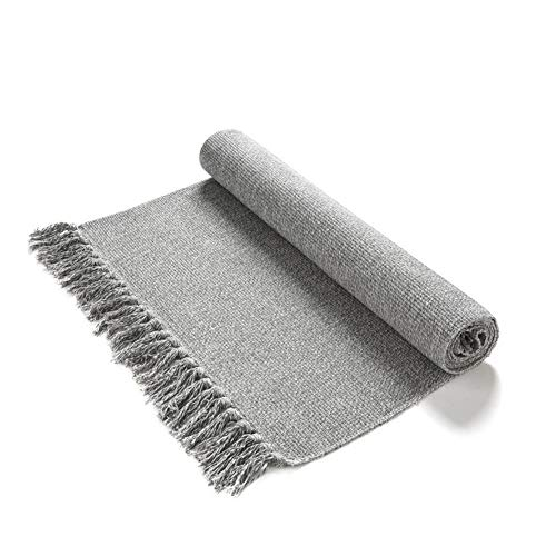 Eanpet Braided Rug Cotton Area Rug Hand Woven Reversible Floor Rug Pure Tassels Throw Rugs Door Mat Laundry Room Rug with Non-Slip Pads Indoor Area Rugs Tablecloth Runner Bathroom Light Grey 2x6 FT (Rugs And Throw Washable Runners)