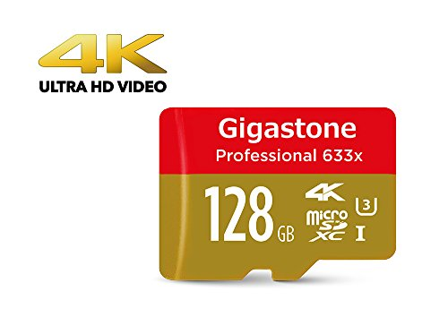 [4K Ultra HD]Gigastone Pro 128GB Micro SD Card U3 up to 95MB/s Memory + SD Card Adapter, Drone, Action camera, Dashcam