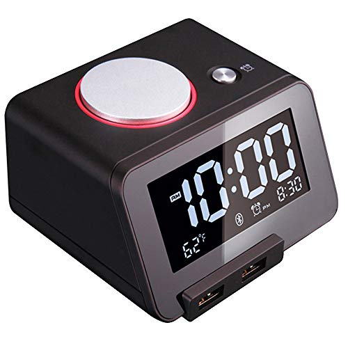 [Upgraded Version] Homtime C1 Pro Alarm Clock for Bedrooms with Bluetooth Speaker, 2-Port Universal USB Charger, Large Dimmable LCD Screen, Thermometer, Snooze, Warranty - Black