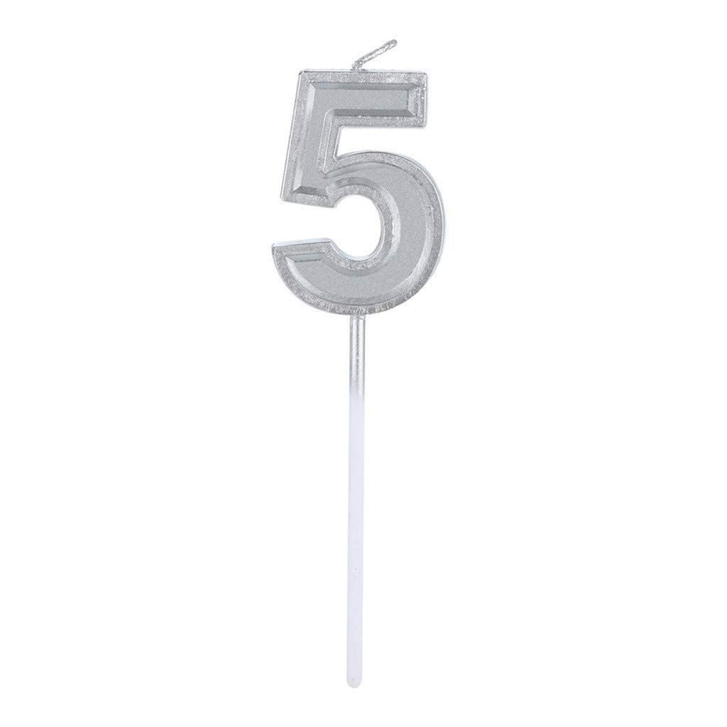 Sikye Birthday Candles,Silver Numeral Candle Cake Decor Non-Toxic Smokeless Decorative Cake Tool for Party Celebration (E)