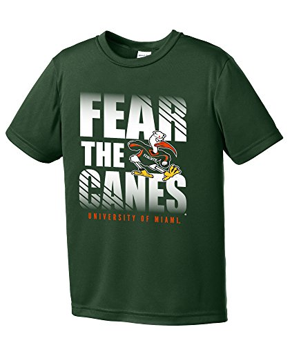 NCAA Miami Hurricanes Boys Fear Short Sleeve Polyester Competitor T-Shirt, Youth Large,ForestGreen
