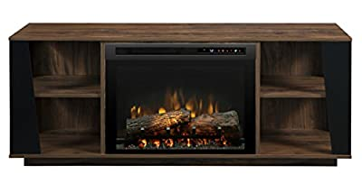 Dimplex Electric Fireplace, TV Stand, Media Console and Entertainment Center with Log Set, Storage Cabinets and Adjustable Shelving in Walnut Finish - Arlo #GDS26L8-1918TW