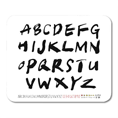 Emvency Mouse Pads Drawn Heart Alphabet Number Handwriting Calligraphy ABC  Mouse Pad 9 5