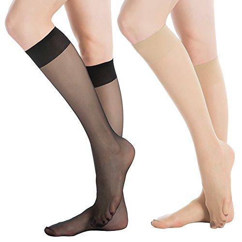 cf6c70e51 MANZI Black 6 Pairs   Nude 6 Pairs 15 Denier Knee-highs Women s Breathable  Pop Sock - Buy Online in Oman.