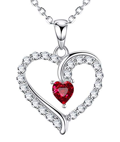 July Birthstone Red Ruby Necklace Jewelry Birthday Gifts for Women Sterling Silver I Love You Love Heart Necklace 20 Chain