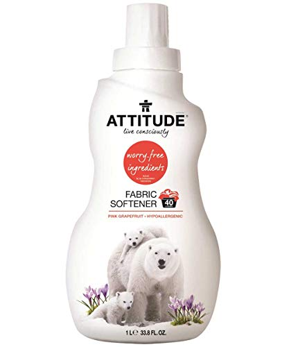 (ATTITUDE Hypoallergenic Fabric Softener, Pink Grapefruit, 33.8 Fluid Ounce, 40 Loads)