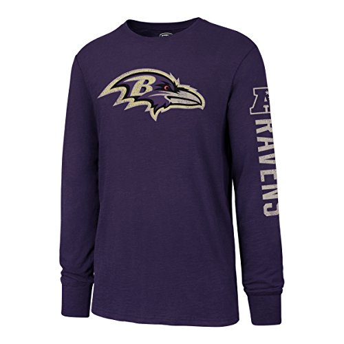 - NFL Baltimore Ravens Men's OTS Slub Long Sleeve Team Name Distressed Tee, Purple, X-Large