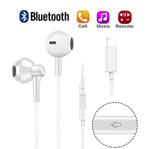 YUEMI Earbuds Headphones Compatible with IP 7,7 Plus,8,8 Plus, X, Stereo Sound by Bluetooth in Earbuds and Built-in Mic and Volume Control,Wired Bluetooth Earphones(White)