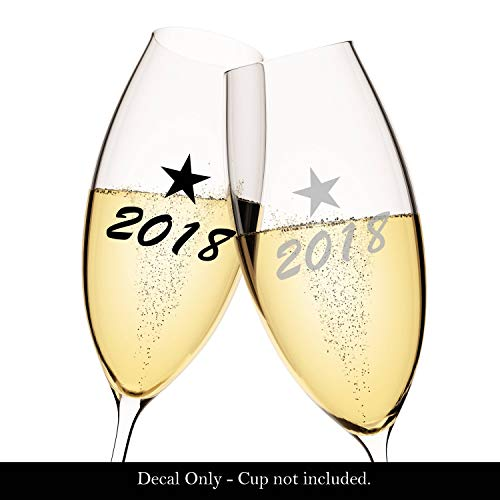 WoodenSign Set of 10 2018 or 2017 Decals Perfect for Champagne Glasses for New Years Eve NYE New Years Day -