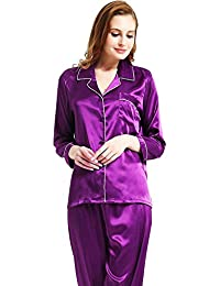 1bef03349d Womens Silk Satin Pajamas Set Sleepwear Loungewear XS~3XL Plus