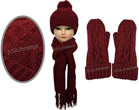 8aeda4b8095 New Stylish Womens Ladies Woolly Thick Knit Hat Scarf And Mitten Gloves Set  In 6 Colours (Red)  Amazon.co.uk  Kitchen   Home