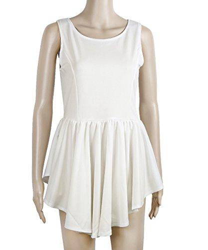 Camisetas Mujeres Blanco Camiseta De Mangas Irregulares O XINGMU Cuello Visten Mangas Sin Verano Sin Vestidos Hem HEZnwqd