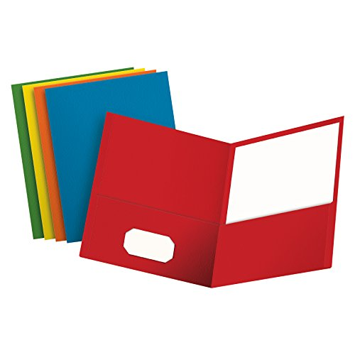 Oxford Twin-Pocket Folders, Textured Paper, Letter Size, Assorted Colors: Red, Light Blue, Orange, Yellow, Green, Box of 50, Holds 100 Sheets (67613) - Oxford Two Pocket