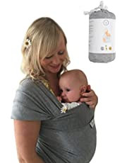 DaisyGro Baby Wrap Carrier, 2 Size Options, Stretchy Cotton, Grey or Black