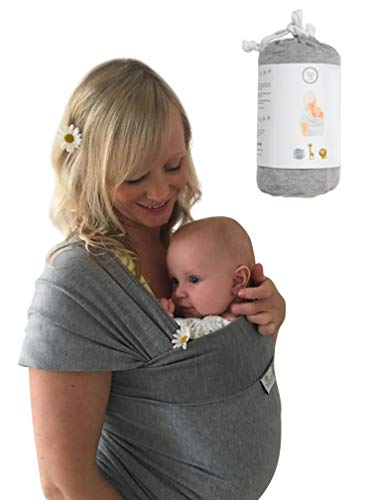 DaisyGro Baby Sling and Baby Wrap Carrier, 2 Size Options, Soft Cotton Blend, Grey