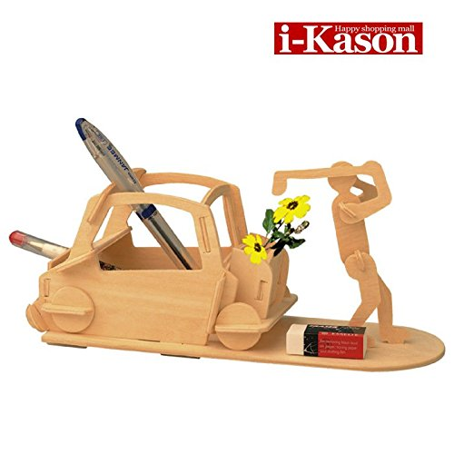 Authentic i-Kason New Favorable Imaginative DIY 3D Simulation Model Wooden Puzzle Kit for Kids/Children and Adults Artistic Wooden Toys for Children (Pen holder baseball)