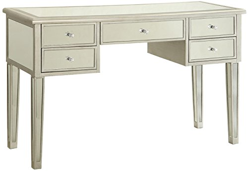 - Writing Desk with Mirrored Accents Antique Silver