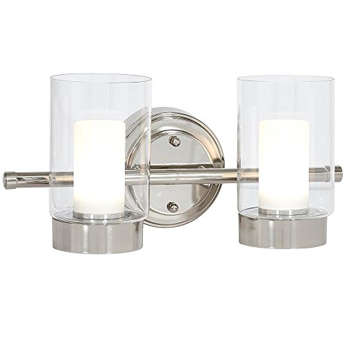 Polished Nickel Candle Light Fixture | Glass Surrounded LED Lighting Fixture | Vanity, Bedroom, or Bathroom | Interior Lighting Double - Polished Lighting Nickel Bathroom