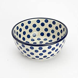 Polish Pottery Cereal Bowl – Small Blue Dot – 12cm D x 5cm H