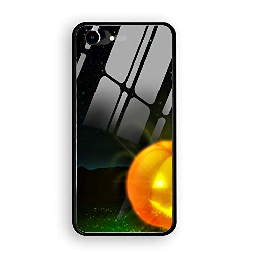 iPhone 7 Case,Holiday Halloween Jack-o-Lantern Glow Bat Tempered