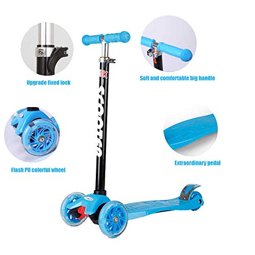 IMMEK Patinete de 3 Ruedas Scooter con Led Luces Manillar Altura Ajustable 73cm-83cm,Perfecto para los Niños Adjustable Handles & Lightweight ...