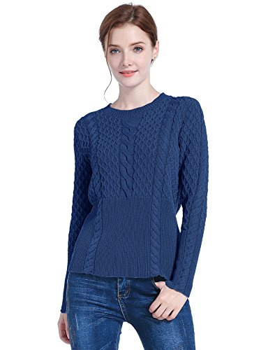 v28 Women's Cotton Cable Knitted Crew-Neck Casual Long Sleeves Pullover Sweater (Medium, (Girls Mock Turtleneck Sweater)