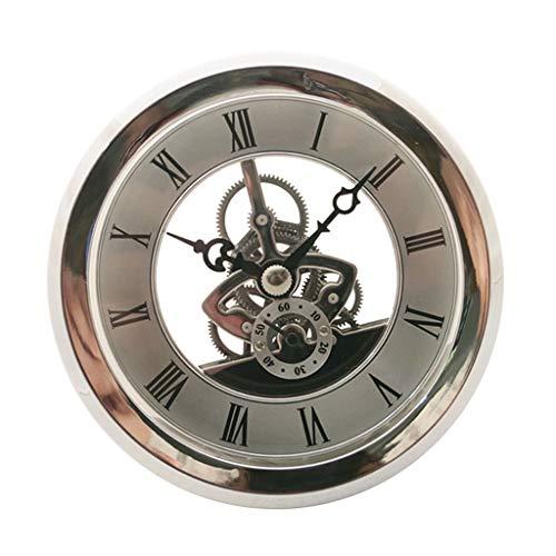 Fenteer 103mm Dial Bezel Metal Chromed Silver Clock Watch Insert Quartz Movement DIY