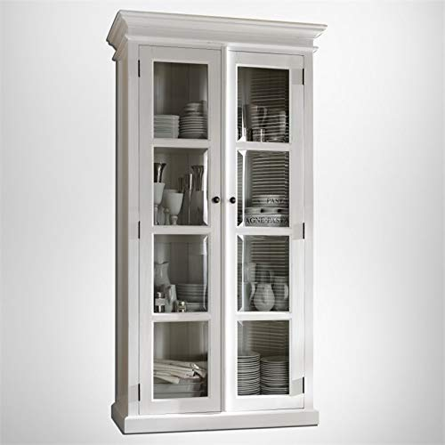 NovaSolo Halifax Pure White Mahogany Wood Double Display Stand With Glass Doors And 4 Shelves