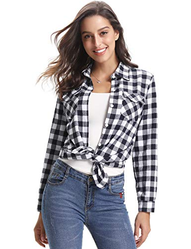 Abollria Women's Roll up Long Sleeve Boyfriend Button Down Plaid Flannel Shirt (Black White,L -
