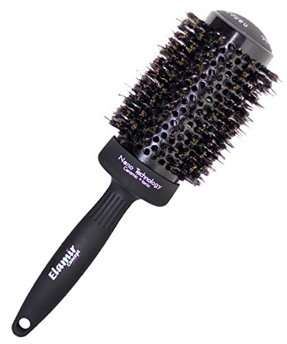 Round Hair Brush for Blow Drying with Volume, Large Round Brush for Blow Drying with Natural Boar Bristles, Round Brush for Straightening|Curling| Styling Brush for Long-Medium Hair (2inch)