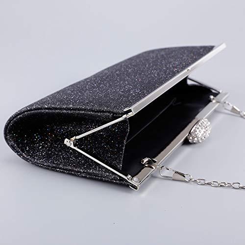 baguette minaudière Sac chaînette soirée Noir strass de à rigide bouton avec Sac ovale poussière Sac de main scintillante xHRn0tz