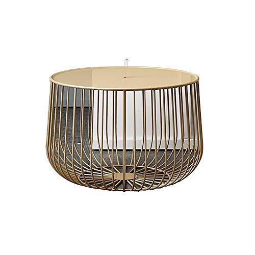 Xiaolin Mesas Creativas de Metal for jaulas de pajaros Cesta de Almacenamiento de Brujas for Sala de Estar, Mesa de Centro Ocasional Redonda (Color : Gold, Size : 55x36cm)
