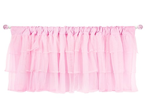 Tadpoles Layered Tulle Window Valance, Girls Window Valance for Nursery Room Bedroom, Pink, 60x16 Inch ()