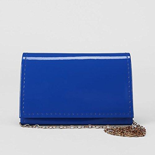 Elegant Ladies Leather Vegan Clutch with Strap Classic Bag Chain Blue Purse Faux 5nAOqTpA