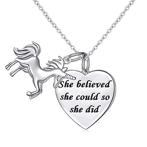 Sterling Silver She Believed She Could So She Did Unicorn Heart Charm Necklace for Teen Girls Women, 18