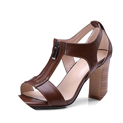 Bar Instep (Women Sandals Instep Zipper high Heels T-Strap peep Toe Office Date Shoes red Sandals,Camel,41)