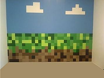 Grün U0026 Braun Pixel Design Entfernbarer Und Repositionierbar Wand Sticker  With Wolken. Riesig 1,