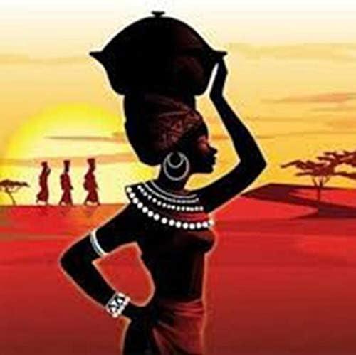 アフリカの女性は大人の子供の壁の家の装飾のための刺繍クロスステッチモザイク絵画5D DIYダイヤモンドドリル-full (Color : Square diamond)