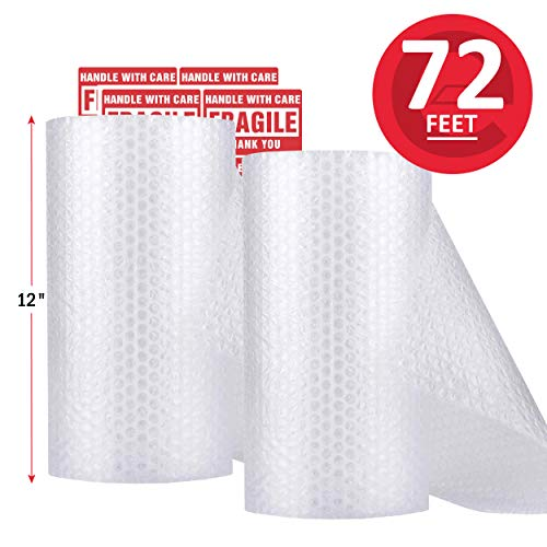 enKo (2 Pack) 12 inch x 72 feet Bubble Cushioning Wrap Roll Perforated 20 Fragile Sticker Labels for Moving Shipping Packing Boxes Supplies from enKo Products