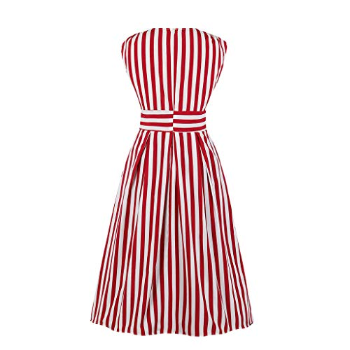 LONGDAY Women Summer Tank Dress V-Neck Midi Dress Sleeveless T Shirt Striped Shirt Button Up Tunic Knee Length Skirt Red]()