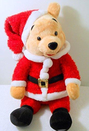 (Winnie the Pooh Bear Santa Red Suit Cap Black Belt Sparkly Smile Plush Disney)