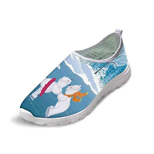 (TecBillion Cartoon Comfortable Running Shoes,Little Polar Bears Skating on Frozen Lake Love Partners Artistic Christmas Theme for Men Boys,US 7)