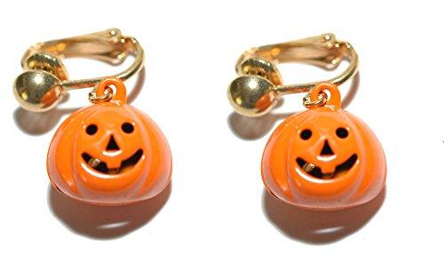 Bright Orange Pumpkin Jingle Bell Halloween Clip On Dangle Earrings (H180clip) -