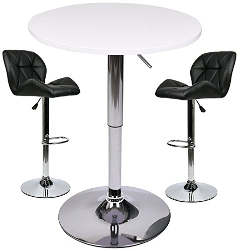 Bar Table with Adjustable Swivel Air Lift Stools Set – 3 Piece Pub Dining Kitchen Home Indoor Outdoor Furniture (Black 1) Review