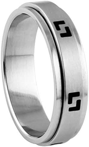 316L Stainless Steel Ring Geometric Design Spinner Ring
